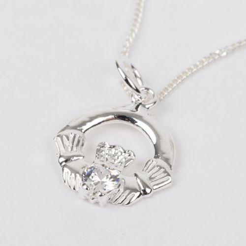Sterling Silver Claddagh Birthstone Pendant with Clear CZ